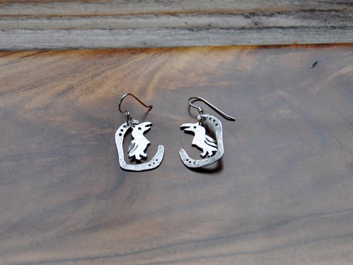 African Grey earrings